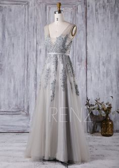 2016 Long Light Gray Bridesmaid Dress Square Neck by RenzRags