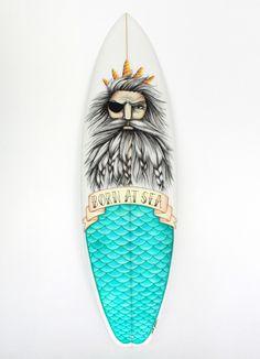 Poseidon Surfboard, Daniela Garreton x Rip Curl. Surfboard Painting, Surfboard Art, Skateboard Design, Skateboard Art, Deco Surf, Posca Marker, E Skate, Posca Art, Surf Design