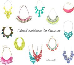 Colored necklaces for Summer
