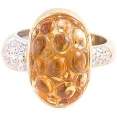 Preowned Bibigi 18 Karat Citrine Diamond Bubble Ring 1/4 Tw (2,100 CAD) ❤ liked on Polyvore featuring jewelry, rings, cocktail rings, multiple, diamond bubble ring, statement rings, citrine cocktail ring, 18 karat gold ring and citrine rings