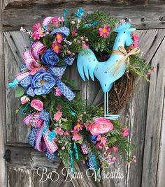 Rooster Wreath Shabby Chic Wreath Rooster Decor Shabby Chic