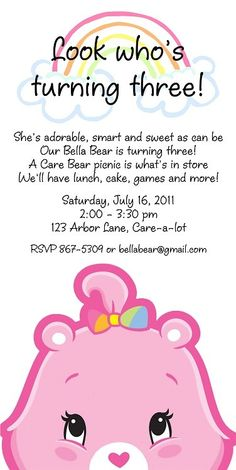 Care Bears Invitation: $15.00 © 2011 Ruby Dorcas Designs [I do not own any Care Bears characters]