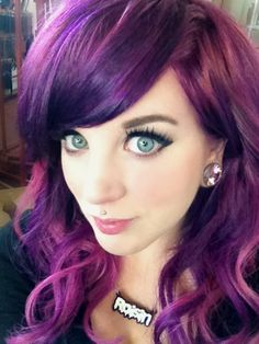 Purple hair and Medusa Piercing - This girl is amazing