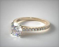 Petite Pave Cathedral Engagement Ring   18K Yellow Gold   17124Y - Mobile
