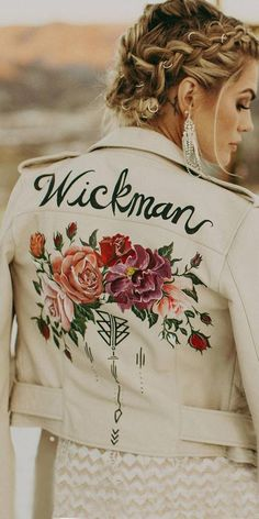 Hottest Trend 18 Wedding Jackets ★ wedding jackets white leather with floral and signature indiaearl Wedding Trends, Boho Wedding, Summer Wedding, Wedding Ideas, Alternative Wedding Theme, Embroidered Leather Jacket, Wedding Jacket, Leather Dresses, Types Of Dresses