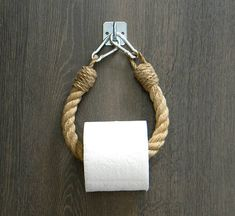 Rope toilet paper holder … Industrial equipment … The post Toilet Paper Rope Holder Industrial Design Toilet Roll Holder Jute Rope Nautical Decor Bathroom furniture towel rail appeared first on Best Pins for Yours - Bathroom Decoration Nautical Bathroom Decor, Bathroom Beach, Bathroom Colors, Bathroom Ideas, Nautical Bedroom, Shower Ideas, Heated Towel Rail, Roll Holder, Towel Holders