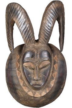 West African Ceremonial Mask with Ram Horns 26