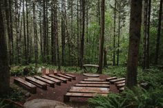 Camp wedding ceremony space in the forest | Image by Hinterland Stills