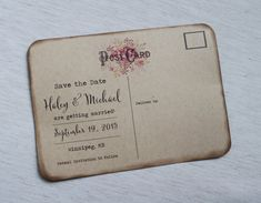 Vintage Save the date, Rustic Floral Save the date Postcard. The perfect mix of Vintage, Rustic , bohemian design and rustic kraft cardstock and