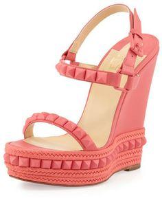 Christian Louboutin Cataclou Studded Wedge Sandal, Pink on shopstyle.com