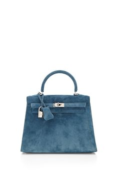 HERMES : 25Cm Blue Thalassa Veau Doblis Suede Sellier Kelly | Sumally