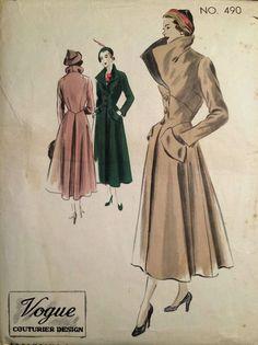 1940's Vintage Vogue Couturier Full Length Long Flared Coat Pattern #490 *FF*