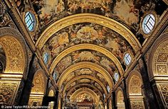 Intricate: The ceiling of St John's Co-Cathedral on Malta, which is dedicated to Saint John the Baptist