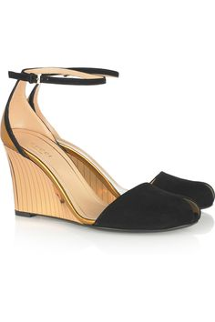 Gucci Suede and metallic wedge sandals   Net-a-porter shoe sale.