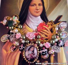Catholic St Therese, Saints Religious Medals Charm Handcrafted Bracelet www.letyscreations.com