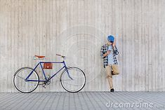 People, style, technology, leisure and lifestyle - young hipster man wearing earphones with smartphone and fixed gear bike listening to music at city street wall Fixed Gear Bike, Hipster Man, City Streets, Listening To Music, Smartphone, Technology, Fresh, Lifestyle, Wallpaper
