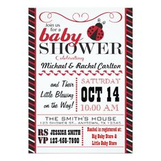 "Ladybug Baby Shower Invitation 5"" X 7"" Invitation Card"