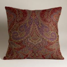 Red and Purple Paisley Jacquard Woven Pillow | World Market