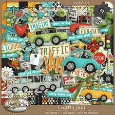 Traffic Jam Digital Scrapbooking Kit, Cars, Trucks, Boy, Travel, License, Play, Art, Clipart by K Studio, kristenrice