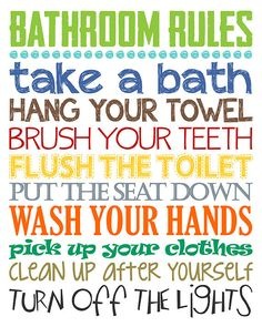 Bathroom Rules. Boys Bathroom Decor. Boys by LittleLifeDesigns