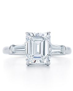 Kwiat emerald-cut engagement ring with tapered baguette side stones, price upon request, kwiat.com.