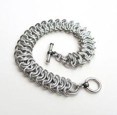 Silver aluminum vertebrae weave chainmaille bracelet, 18 gauge