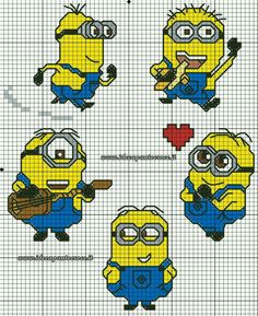 Minions piccoli schemi punto croce by on deviantart Cross Stitch For Kids, Cross Stitch Cards, Cross Stitch Baby, Counted Cross Stitch Patterns, Cross Stitch Designs, Cross Stitching, Cross Stitch Embroidery, Minion Crochet Patterns, Minion Pattern