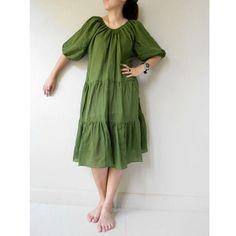 Custom Made Cute Green Cotton  Patchwork  Loose Boho by siam2u