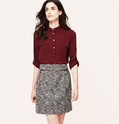 tweed skirt from loft with zipper detailing