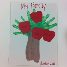 "Family tree using handprints! We sent the apples home as ""homework"" and family involvement then the kiddos glued their apples on. Trunk is their arm then handprints as leaves/branches!"