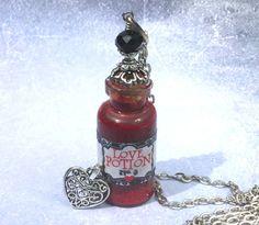 Love Potion Glass Vial Bottle Pendant Necklace by AdornaJewellery