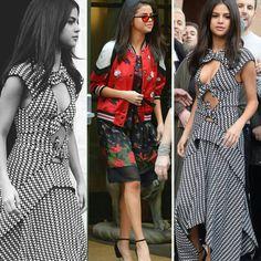 as inspirações fashion da Selena Gomez, de vestido xadrez #proenzaschouler e vestido e jaqueta floral da #coach.♥️💥 #selenagomez #creative #fashion #streetstyle #inspirations
