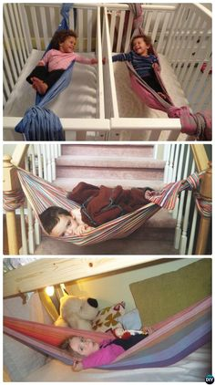 DIY Hammock Projects Picture Instructions 10 DIY Hammock Projects Picture Instructions with hammock stand, too. Easy Sew or Macrame Hammock Projects for Indoor and Outdoor Relax. Kids Hammock, Baby Hammock, Hammock Stand, Kids Wraps, Baby Wraps, Projects For Kids, Diy For Kids, Toddler Fun, Kids Corner