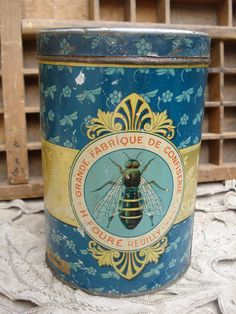 """Old french metal tin box for """"Honey sugar"""""""