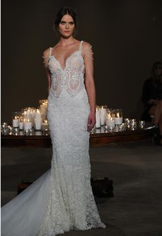 Galia Lahav Fall 2016 off the shoulder illusion sweetheart neckline wedding dress | https://www.theknot.com/content/galia-lahav-wedding-dresses-bridal-fashion-week-fall-2016 *needs more lining so the breasts cups don't show so much*