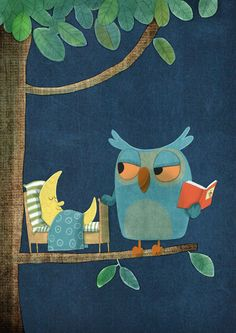 Owl reads moon a goodnight story. → For more, please visit me at: www.facebook.com/jolly.ollie.77