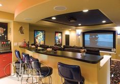 Home Theater with Fountain Machine