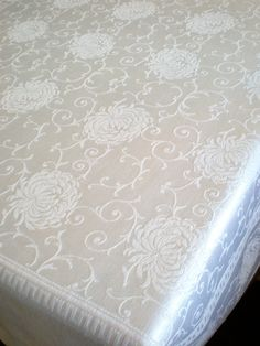 1960's Rectangle Tablecloth WHITE Damask 65 by 54 Flocked Damask Table Cloth, Stunning Flower Chrysanthemum AS-IS Tiny hole picture 5 by chloeswirl on Etsy