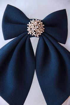 Navy Blue Matte Women's Bow Genuine New by #BowsByVaniaSzasz #Etsy #handmade #details