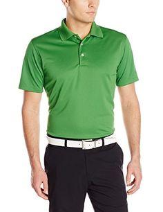 c15d7045 PGA TOUR Men's Men's Golf Airflux Short Sleeve Solid Polo Shirt, Tree Top,  Medium
