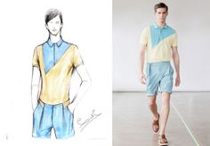 Carlos Campos took asymmetrical color blocking and bright, unexpected hues from a sketch to runway reality for Spring 2012.