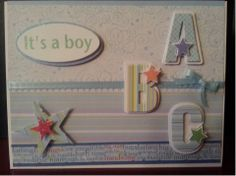 www.fb.com/susansdesignstudio This is an adorable baby boy card. Can be used for a baby shower, or baby gift or even a baby announcement.The inside is blank so you can add your personal sentiment. Finished card is 6 1/2 x 5 inches. $5.00 Cdn. Baby Boy 1