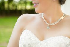 Layered pearl necklace for the bride with a splash of something blue | http://emmalinebride.com/bride/layered-pearl-necklace-etsy-finds/