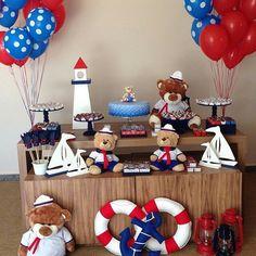 Urso Sailor Birthday, Sailor Party, Sailor Theme, Baby Showe Ideas, Baby Shower Themes, Baby Boy Shower, Nautical Theme Decor, Nautical Baby, Baby Boy Birthday Themes