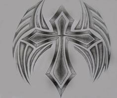 drawings of cross with rose | Tribal Cross Wing by ArtBroke on DeviantArt