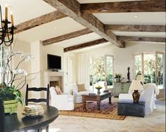 Country Style White Living Room