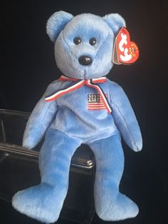 America Ty Beanie Babies/Baby 911 Memorial Bear With **DOUBLE TUSH TAG** #Ty