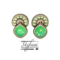 Midi soutache earrings Sweet Mint Crystal with Glass Beads and