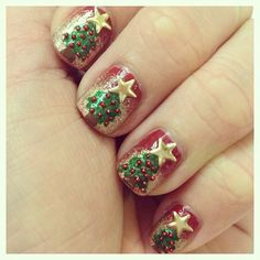 """Christmas Trees"" Christmas Nails"