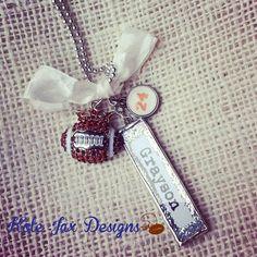 Custom Soldered Glitter Name Football Mom Necklace